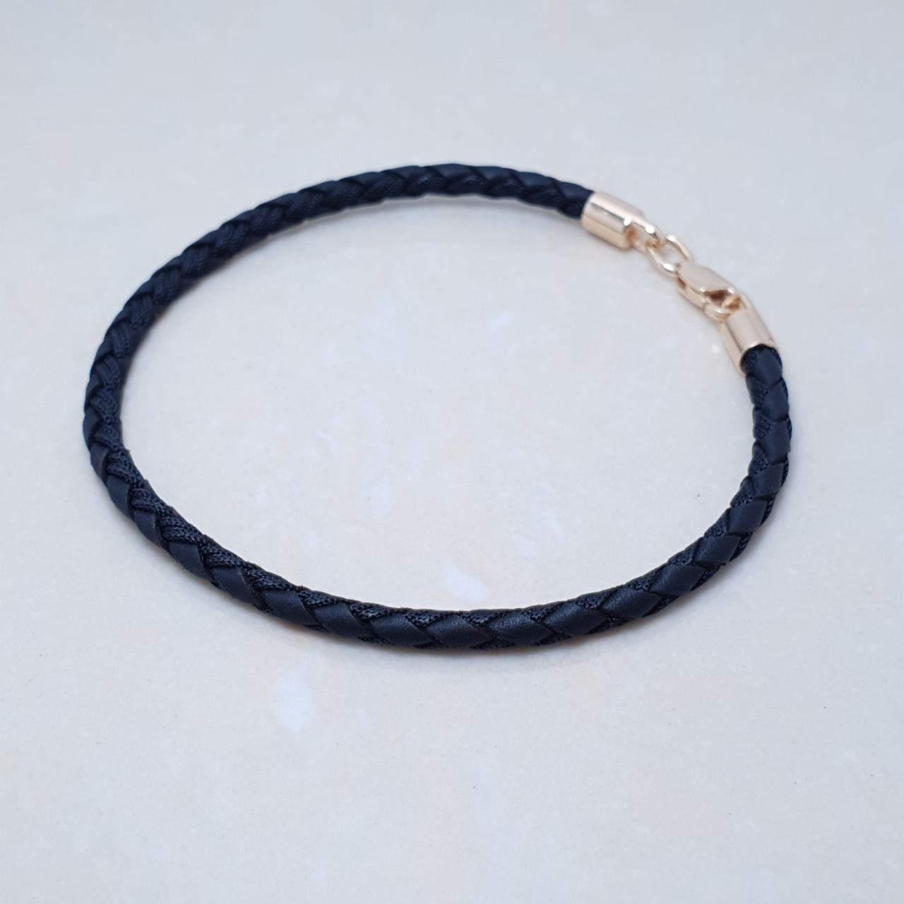 Іміджевий браслет на натуральному чорній шкіряній мотузці з шовком, срібло 925, червоне золото - якість ТОП!!