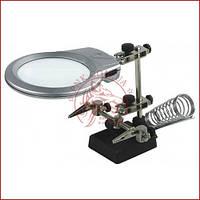 Тримач Третя рука ZD-10M, скляна лінза, підсвітка, підставка для паяльника, чавунна стійка