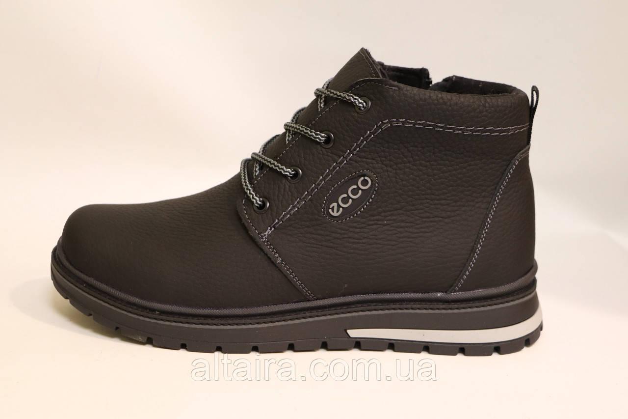 Мужские зимние кожаные ботинки черного цвета. Размеры 41-46