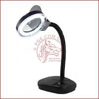 Лупа лампа настільна YIHUA-239, люмінесцентна підсвічування 11W, 2X + 20X, діаметр 90мм