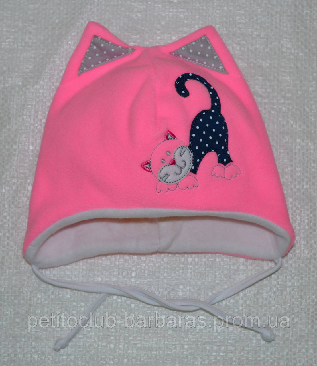 Шапка демисезонная Киска для девочки розовая (AJS, Польша)