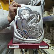 Икона серебряная Святое Семейство Мария и Иосиф с младенцем большая