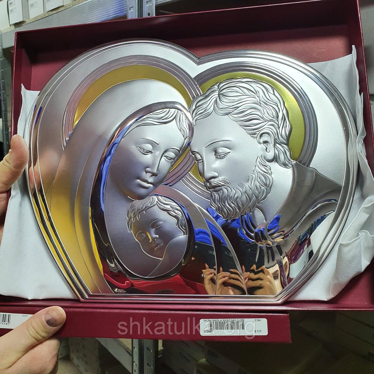 Икона серебряная Святое Семейство Мария и Иосиф с младенцем и позолотой
