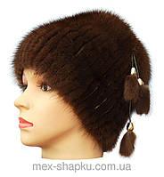 Меховая шапка из норки коричневого  цвета на вязанной  основе