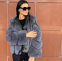 Роскошная кожаная куртка косуха с натуральным мехом финского песца
