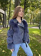 Роскошная кожаная куртка косуха с натуральным мехом финского песца, фото 1