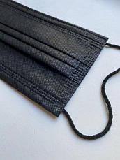 Маски медицинские черные трёхслойные штампованные, одноразовые маски для лица опт от 50 шт, фото 3