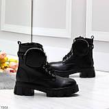 Дизайнерские черные женские зимние ботинки мартинсы с кошельками, фото 2