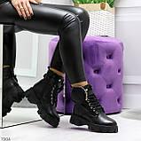 Дизайнерские черные женские зимние ботинки мартинсы с кошельками, фото 3