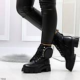 Дизайнерские черные женские зимние ботинки мартинсы с кошельками, фото 5