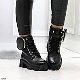 Дизайнерские черные женские зимние ботинки мартинсы с кошельками, фото 6