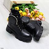 Дизайнерские черные женские зимние ботинки мартинсы с кошельками, фото 7