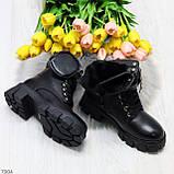 Дизайнерские черные женские зимние ботинки мартинсы с кошельками, фото 9