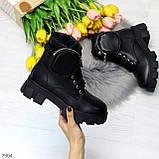 Дизайнерские черные женские зимние ботинки мартинсы с кошельками, фото 10