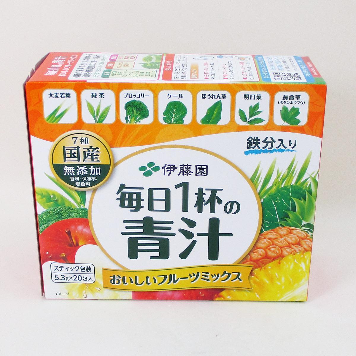 ITOH Аодзиру з листя ячменю з овочами і фруктами, 25 пакетиків по 5,3 г