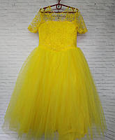 Подростковое нарядное платье для девочки Цветы рукав 9-10 лет, жёлтого цвета, фото 1