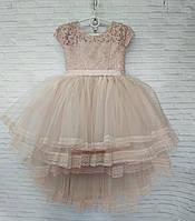 Детское нарядное платье для девочки Шлейф 5-6 лет, кремового цвета, фото 1