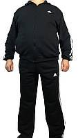 Спортивный костюм мужской большого размера adidas, три полосы,черный.синий,Турция,56-62