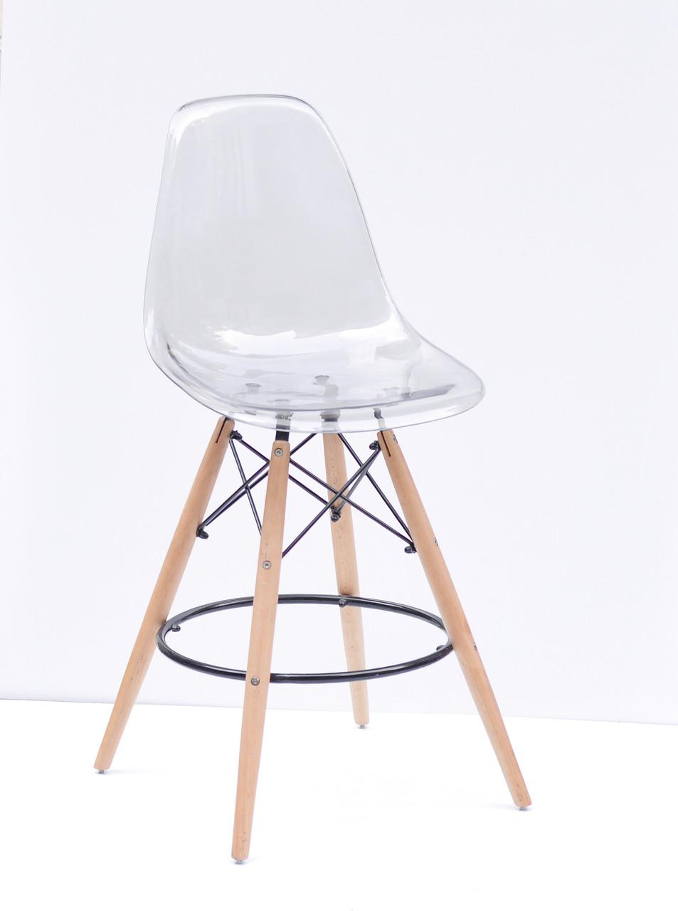 Стул барный дымчатое пластиковое сиденье c подставкой для ног Nik BAR Carbon