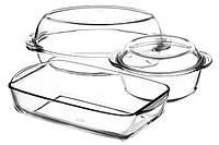 Набор кастрюль стеклянных Borcam круглая с крышкой 1,45л, утятница с крышкой V=2,25л+1,8л, прямоугольная 2,75л