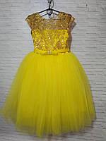 Детское нарядное платье для девочки Пайетки блеск 5-6 лет, желтого цвета, фото 1