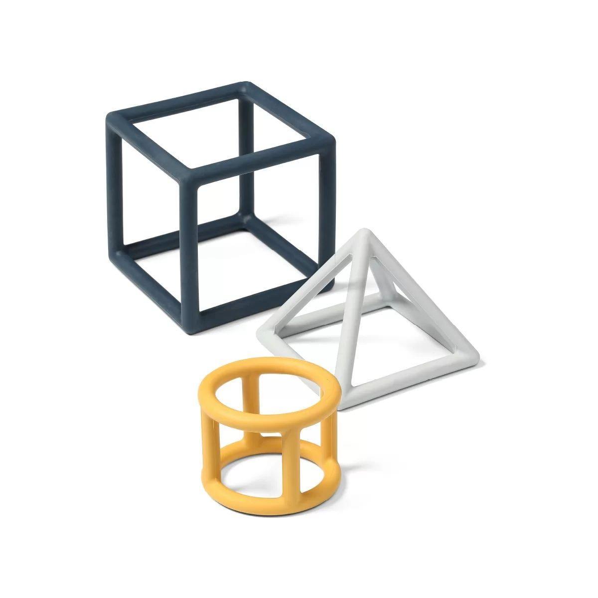 Набір прорізувачів для зубів навчальний BabyOno Геометрія (жовтий, білий, сірий) (514/01)