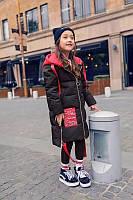 Стильный зимний пуховик на девочку с трикотажным капюшоном зеленый, оливка. В наличии!!! Фабричный Китай, фото 1
