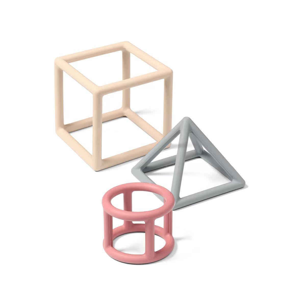 Набор прорезывателей для зубов обучающий BabyOno Геометрия (розовый, серый, кремовый) (514/02)