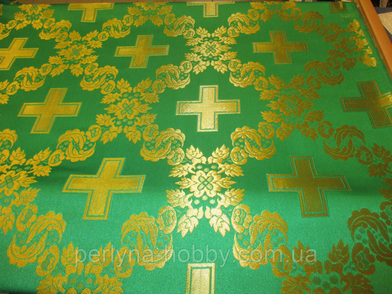 Тканина церковна Царський хрест зелений ш/з Ткань церковная