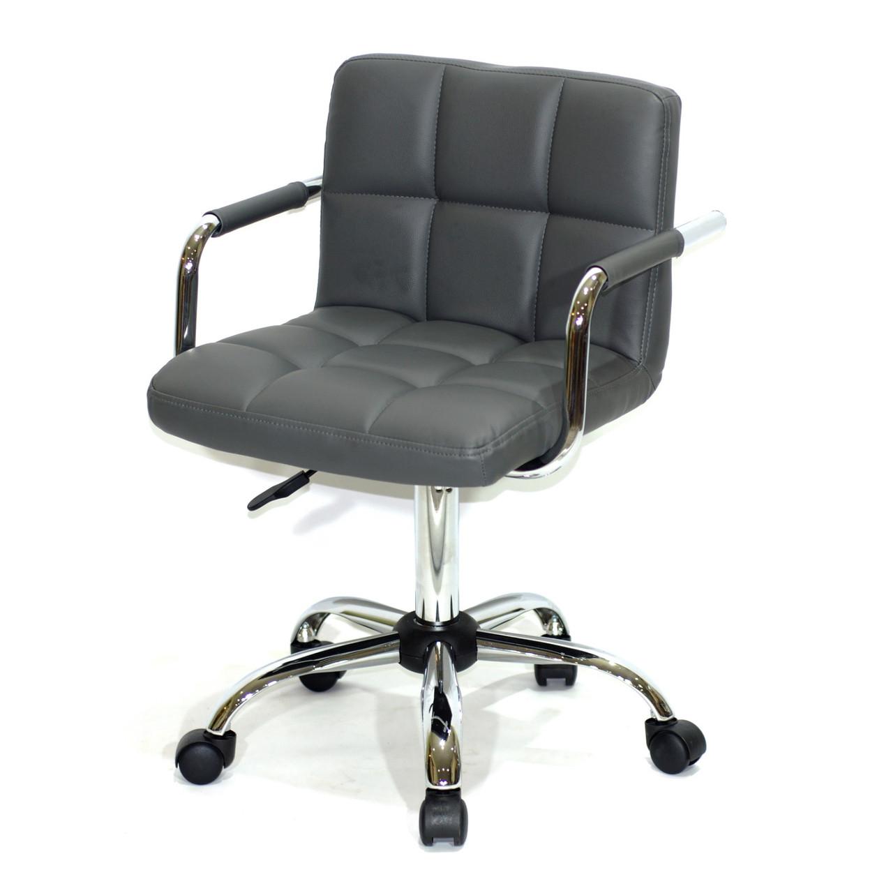 Комп'ютерне крісло сіре з підлокітниками на коліщатках ARNO-Arm CH-OFFICE еко-шкіра