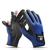 Перчатки спортивные для рыбалки, велосипеда, вождения авто (ЗП-107) Синий, XL