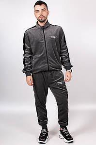 Спортивный костюм велюровый мужской серый с черными лампасами Sport 5721-2