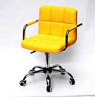 Солнечное жетлое кресло для компьютера на колесиках с подлокотниками ARNO-Arm CH-OFFICE эко-кожа