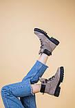 Женские замшевые ботинки цвета капучино со шнуровкой, фото 8