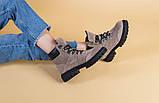 Женские замшевые ботинки цвета капучино со шнуровкой, фото 9