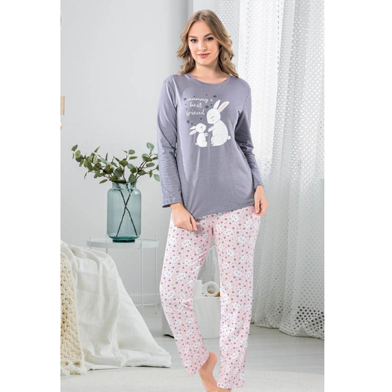 Пижама для девушек S-M-L-XL серая брючная для сна хлопковая Mummy`s best friend S