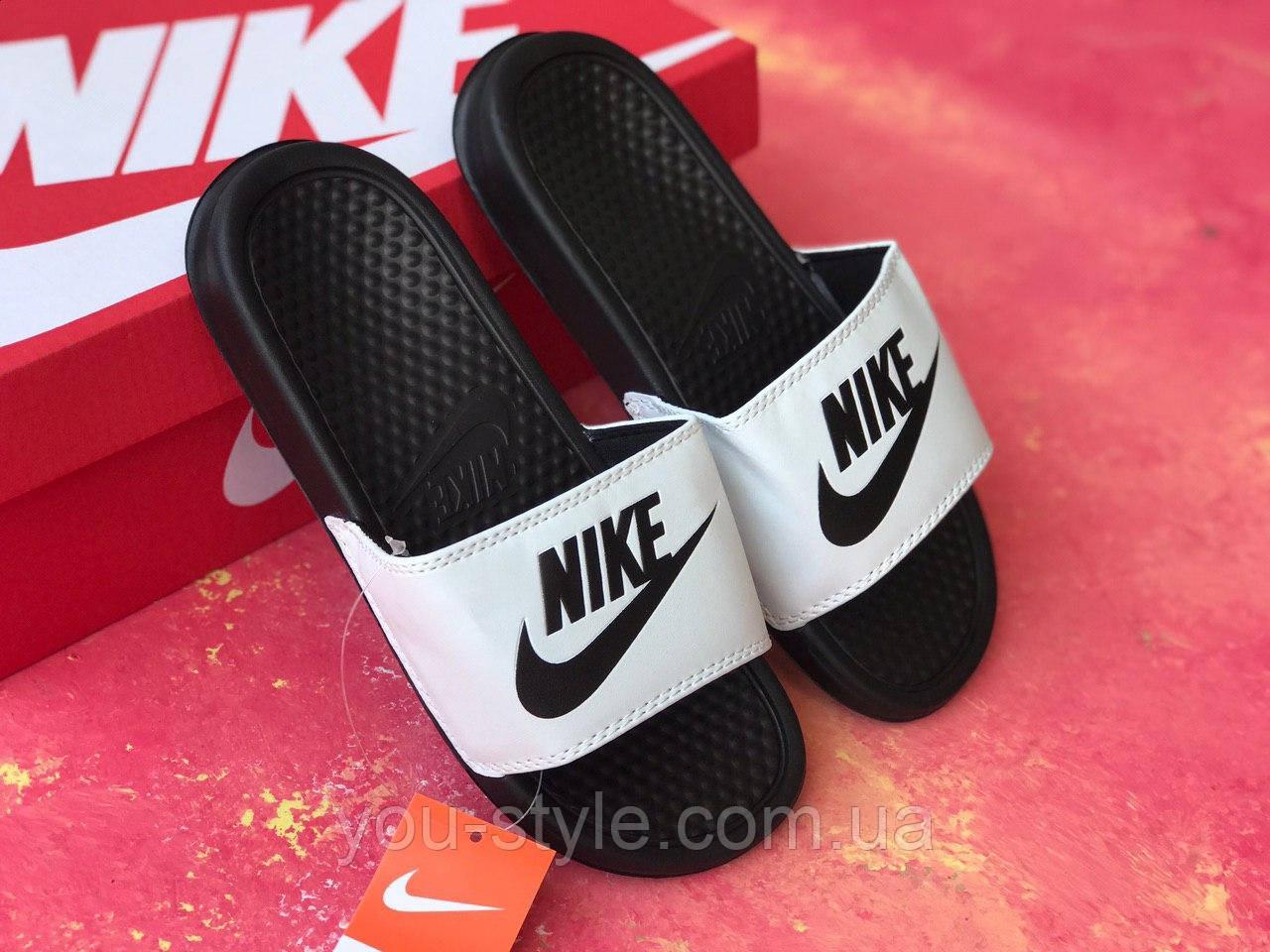 Сланцы/шлепки Nike женские(черно-белые)/ шлепки/ тапки найк/шлепанцы/тапочки