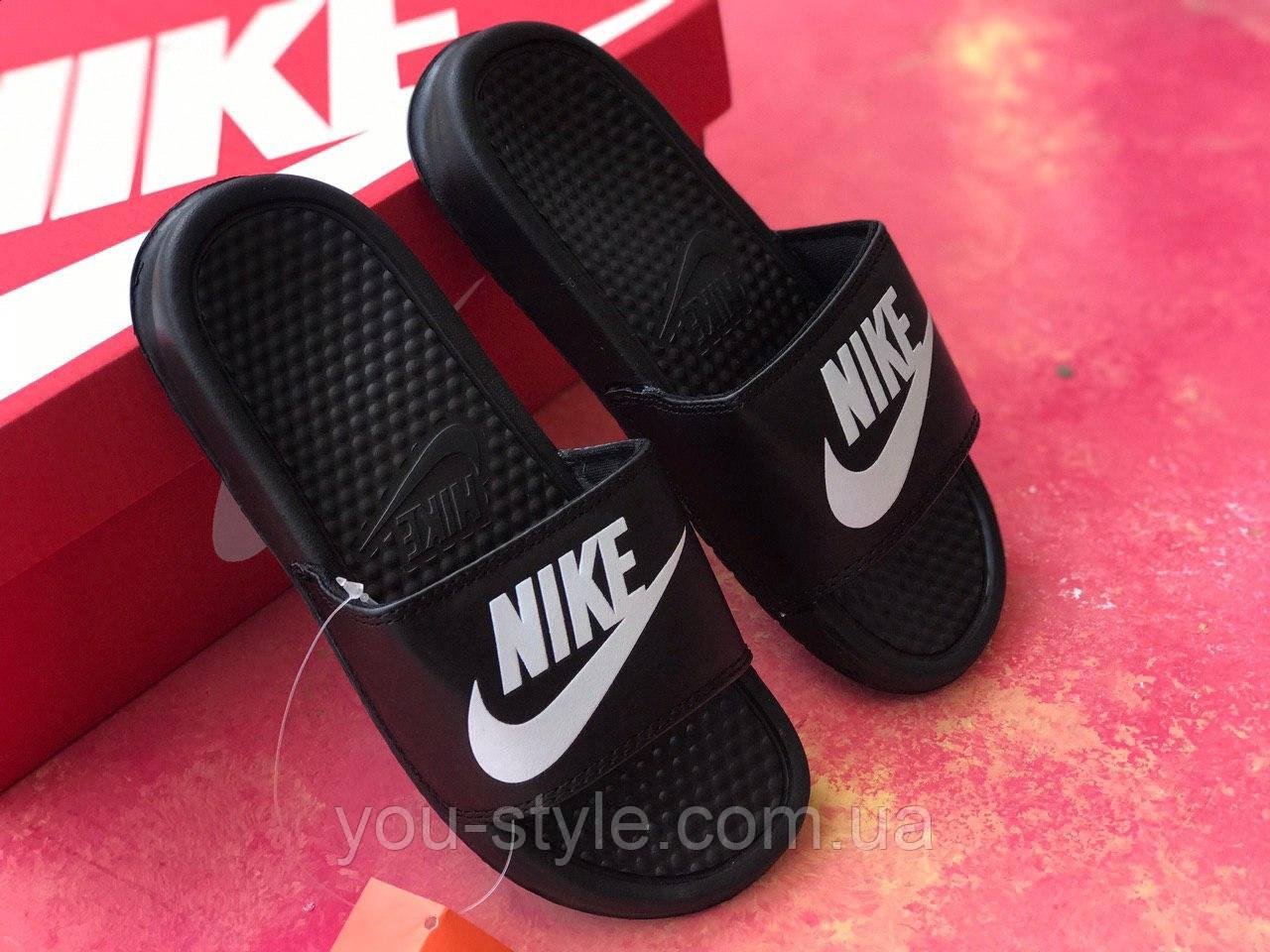 Сланцы/шлепки Nike женские(черно-белый значок)/ шлепки/ тапки найк/шлепанцы/тапочки