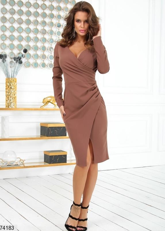 Женское коктейльное платье р. 42-48 капучино