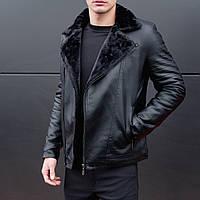 Куртка мужская кожаная зимняя на меху Yamaha до - 25*С черная | кожанка теплая мужская ЛЮКС качества