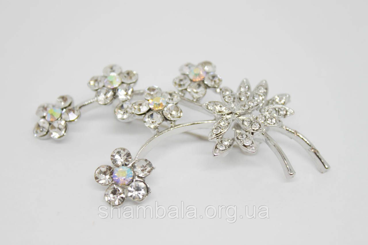 "Брошь Fashion Jewerly ""Branch of flowers"" серебро (081533)"