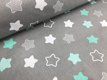 """Польская хлопковая ткань """"звезды (пряники) белые, мятные на сером"""", фото 2"""