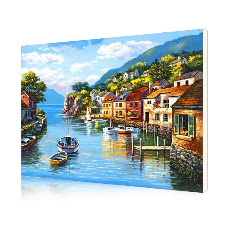 """Картина по номерам Lesko DIY PH9560 """"Дома на воде"""" набор для творчества на холсте 40-50см рисование"""