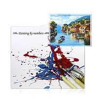 """Картина по номерам Lesko DIY PH9560 """"Дома на воде"""" набор для творчества на холсте 40-50см рисование, фото 3"""
