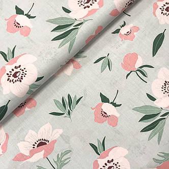 """Польская хлопковая ткань """"Розовые цветы с зелеными листьями на сером"""", фото 2"""