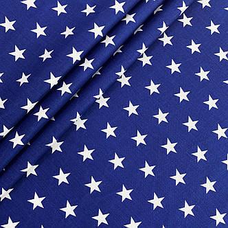 """Польская хлопковая ткань """"звезды белые на синем густые"""", фото 2"""