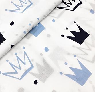 """Польская хлопковая ткань """"короны черно-голубые на белом"""", фото 2"""