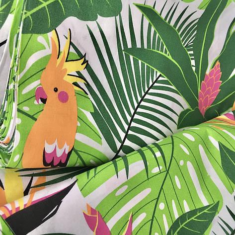 """Польская хлопковая ткань """"попугаи с пальмами на белом"""", фото 2"""