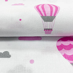 """Польская хлопковая ткань """"Воздушные шары серо-розовые"""", фото 2"""