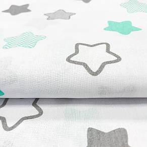 """Польская хлопковая ткань """"Звезды-пряники мятно-серые с зигзагами  на белом"""", фото 2"""